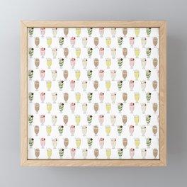 Milkshake Pattern Framed Mini Art Print