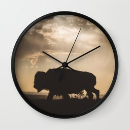 Bison in the Storm - Badlands National Park Wall Clock