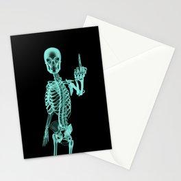 X-ray Bird / X-rayed skeleton demonstrating international hand gesture Stationery Cards