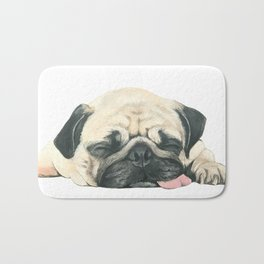 Nap Pug, Dog illustration original painting print Bath Mat