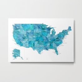 "Teal watercolor map of the USA with cities, ""Norvin"" Metal Print"
