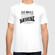 Go Make Today White MEDIUM Mens Fitted Tee