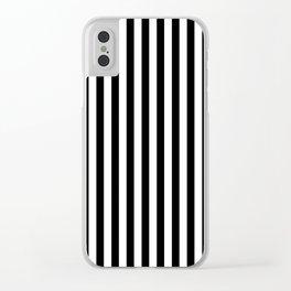 Vertical Stripes (Black & White Pattern) Clear iPhone Case