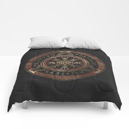 The Helm of Awe  Black and Red Leather and gold Comforters
