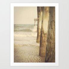 Fishing Pier Surf City Beach Topsail Island NC Lomo Vintage Art Print