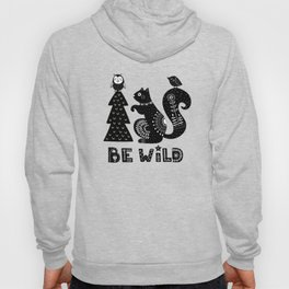 Be Wild Cute Owl And Squirrel In Scandinavian Style Hoody