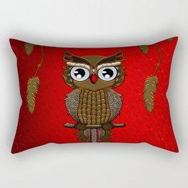Wonderful steampunk owl on red background Rectangular Pillow