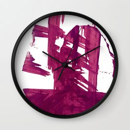 Cranberry brushstroke [1]: a bold, simple, abstract piece in purple Wall Clock