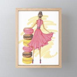 Girl With Macarons Pink Framed Mini Art Print