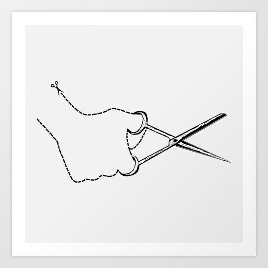 self-cut scissors Art Print