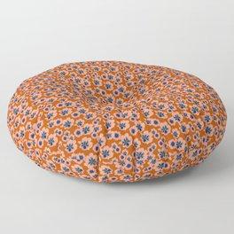 Mini Floral - Orange Blue Floor Pillow