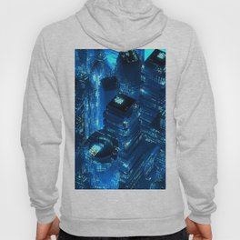 Blue neon city skyscrapers modern technology concept Hoody