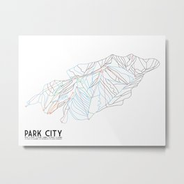 Park City, UT - Minimalist Trail Art Metal Print