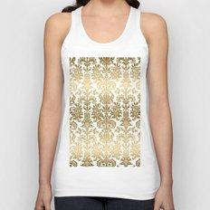 White & Gold Floral Damask Pattern Unisex Tank Top