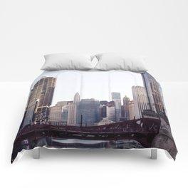 Chicago River Skyline Comforters