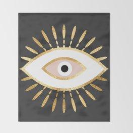 gold foil evil eye in blush Throw Blanket