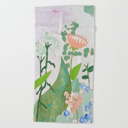 Multi Floral Painting on Pink and White Background Beach Towel