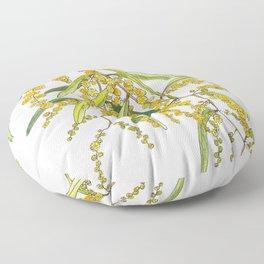 Australian Wattle Flower, Illustration Floor Pillow