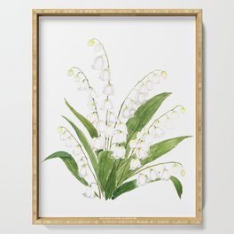 white lily of valley Serving Tray