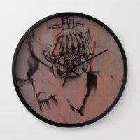 bane Wall Clocks featuring Bane, by Laura Hodgson