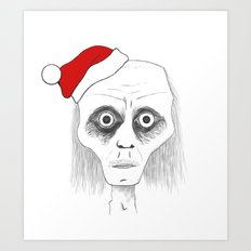 Tired Santa Art Print