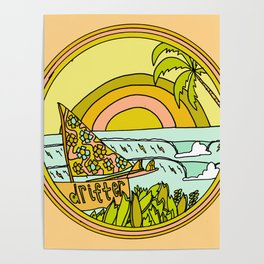 drifting to paradise surf art by surfy birdy Poster