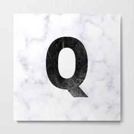 Black Marble Initial Monogram Letter Q Metal Print