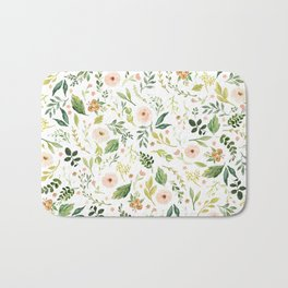 Botanical Spring Flowers Bath Mat