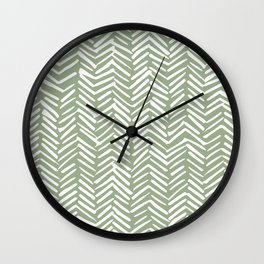 Boho Herringbone Pattern, Sage Green and White Wall Clock