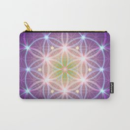 Purple Flower of Life Carry-All Pouch
