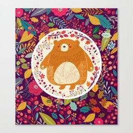 Bear in autumn forest Canvas Print