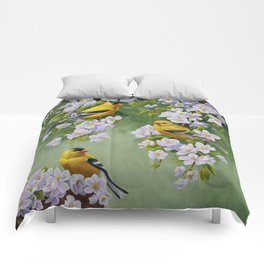 Goldfinches and Spring Apple Blossoms Comforters
