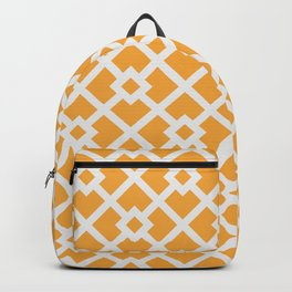 Golden & White Abstract Square Pattern Backpack