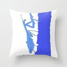 Blue Praying Mantis Throw Pillow