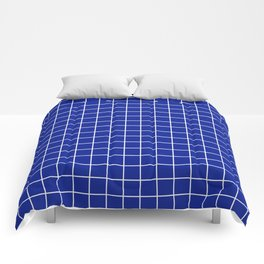 Indigo dye - blue color - White Lines Grid Pattern Comforters