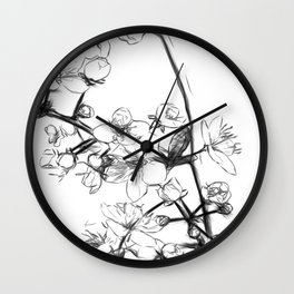 Cherry Blossoms Minimal Drawing Wall Clock