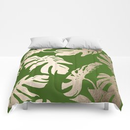 Palm Leaves White Gold Sands on Jungle Green Comforters
