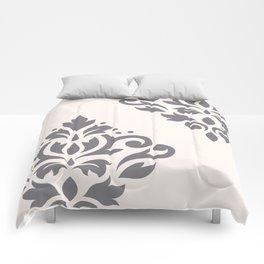 Scroll Damask Art I Grey on Cream Comforters
