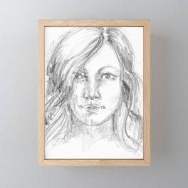 Woman portrait drawn in pencil Framed Mini Art Print