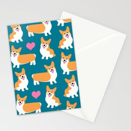 Pembroke Welsh Corgi Cute Green Pattern Stationery Cards