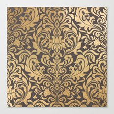 Gold swirls damask #9 Canvas Print