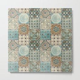 N113 - Vintage Antique Traditional Moroccan Tiles Style Artwork. Metal Print