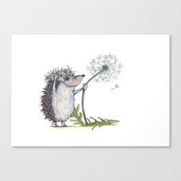 Hedgehog & Dandelion Canvas Print
