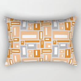 Simple Geometric Pattern in Peach and Gray Rectangular Pillow