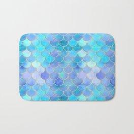 Aqua Pearlescent & Gold Mermaid Scale Pattern Bath Mat