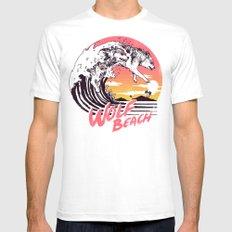 Wolf Beach MEDIUM Mens Fitted Tee White