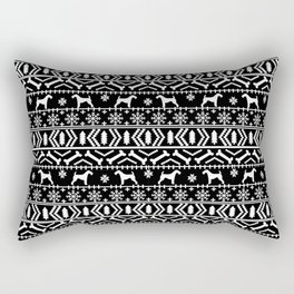 Airedale terrier fair isle silhouette christmas sweater black and white holiday dog gifts Rectangular Pillow