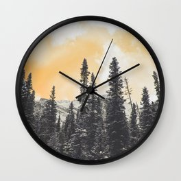 Orange Skys Above the Pines Wall Clock