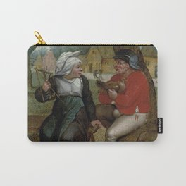 """Pieter Brueghel II (The Younger) """"A peasant holding a hen and a peasant woman holding a spindle"""" Carry-All Pouch"""