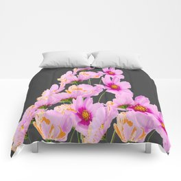 PASTEL FUCHSIA PINK COSMOS FLOWERS  ON GREY COLOR Comforters